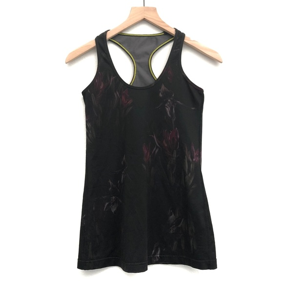 lululemon athletica Tops - Lululemon Black Midnight Iris Tank Top - Size 2